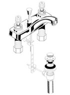Parts Diagram For Heritage Commercial Centerset Bathroom Faucet Models 5400 Series, 5401 Series, 5402 Series, 7400 Series, 7401 Series, 7402 Series